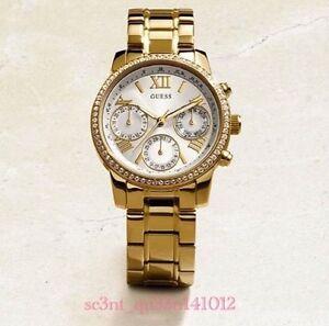 AUTHENTIC GUESS LADIES' MINI SUNRISE WATCH STONE GOLD U0623L3 Brand New RRP:$349