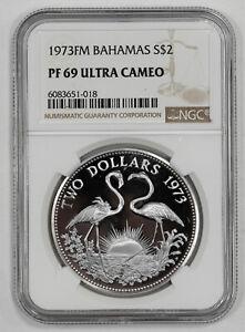 1973 FM PROOF BAHAMAS FLAMINGO S$2 NGC CERTIFIED PF 69 ULTRA CAMEO (018)