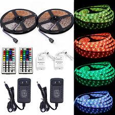 2X 5M SMD RGB 5050 Waterproof 300LED Strip light +44Key Remote +12V Supply Power
