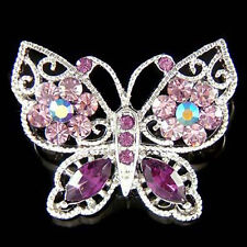 ~Purple BUTTERFLY~ made with Swarovski Crystal Bridal Wedding Pin Brooch Jewelry