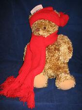 HALLMARK Mary Teddy Bear Light Brown Curly Hair Long Red Scarf  NEW with TAG NWT