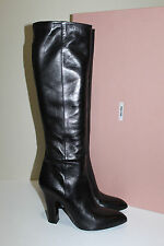 New sz 5.5 / 35.5 Miu Miu / Prada Black Leather Tall Boot Pointed Toe Heel Shoes