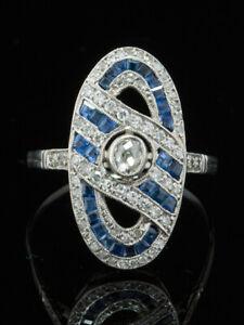 EDWARDIAN AUSTRO HUNGARIAN DIAMOND AND SAPPHIRE PLATINUM TARGET DRESS RING