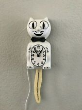 Vintage Rare White Kit Cat Clock W/ Bejeweled Tail Working Official KitCat Klock