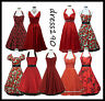 dress190 Red 50s Rockabilly Pinup Party Prom Ball Gown Cocktail Dress UK 8-26