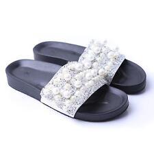 Summer Women Slip On Sandals Bohemia Pearl Flat Shoes Slippers Flip Flop New JJ
