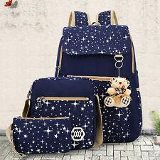 Women Girl Canvas Backpack+Handbag+Wallet Set Shoulder School Bag Travel Satchel