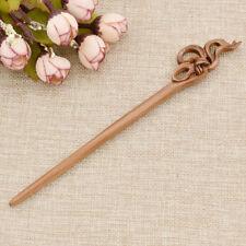 Wooden Rose Hair Sticks Vintage Elegant Carved Ebon Knot Hair Chopsticks Hairpin