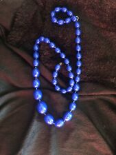 Royal Blue Retro Plastic Vintage Bobble Necklace Oval Beads Graduated Goodwood