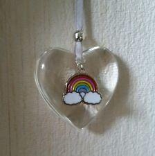 Handmade suspendu verre Coeur Décoration babiole avec arc-en-charme