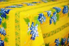 """LE CLUNY, GRAPES, YELLOW FRENCH PROVENCE COATED COTTON TABLECLOTH, 60"""" x 84"""""""