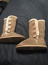 Women's Suede Button Boots, size 9 Calf High