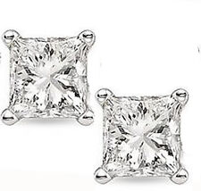 Princess Cut 2 carat 14k White Gold Sterling Silver Solitaire Stud Earrings New