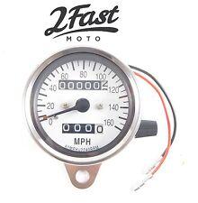 2FastMoto Chrome Speedometer Trip Odometer Cafe Racer 2.1:1 Ratio Suzuki White