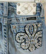 MISS ME Girl's Low Light Fleur Crystals Capri Jeans YK7177P3 24x14 Size 10