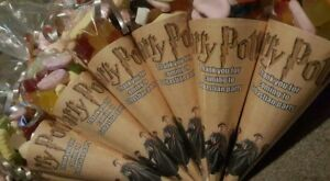 12 personalised HARRY POTTER kit/party bags/sweet cone bags /birthday party bag