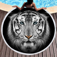 Animal White Tiger Beach Towel Round Tapestry Blanket Bedspread Yoga Shower Mat