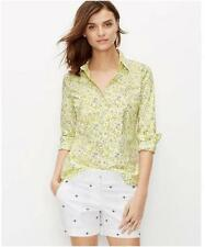 Ann Taylor Size 6 (SMALL) Yellow Pansy Long Sleeve Button Down Shirt $79.50 (H)