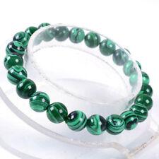 """Beautiful 8mm Round Green Malachite Bead Bracelets 7.5"""""""