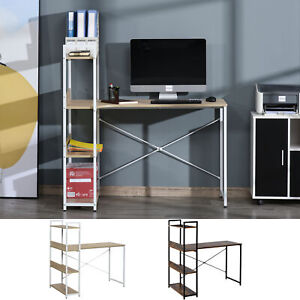 Industrial Computer Desk Home Office Table 4-Tier Storage Shelf Metal Frame