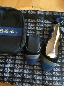 Size 34(1) Suedette Fold Up Ballet Style Shoes In A Matching Bag New