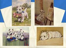 WESTIE TERRIER PACK OF 4 VINTAGE STYLE DOG PRINT GREETINGS NOTE CARDS #2
