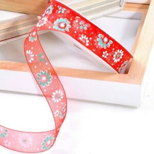 25mm Flower Printed Organza Ribbon DIY Crafts Gift Box Wrapping Christmas Decor