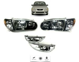 For 2000-2002 Toyota Corolla Headlamp Pair Black Headlight LH RH And Fog Set