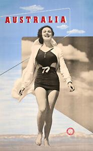 Australia Woman on Beach Original Poster c1937 by Douglas Annand