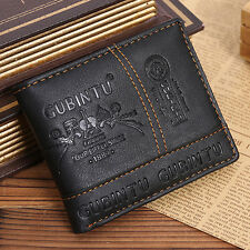 Mens PU Leather Bifold Wallet Credit/ID Card Receipt Holder Coin Purse Black