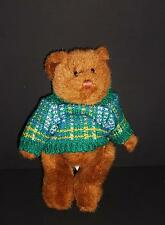 """Russ Bears From The Past Fully Jointed 7"""" Stuffed Brown Bear in Green Sweater"""