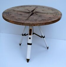 Natural wooden rounder coffee tea table home office bar table compass style