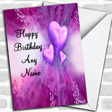 Purple Hearts Romantic Birthday Customised Card