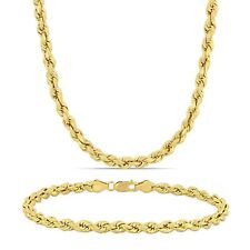 """Amour Men's 14k Solid Yellow Gold 5MM 22"""" Rope Chain Necklace and 9""""Bracelet Set"""