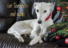 WHITE GREYHOUND LURCHER CHRISTMAS CARD - Personalised + illustrated inside too