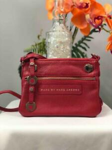 MARC BY MARC JACOBS Hibiscus Red Pebbled Leather Mini Slim Crossbody Bag