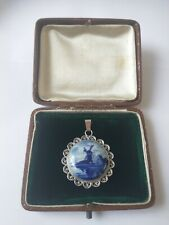 Lovely Delft Holland china windmill scene pendant set in an 835 silver bezel