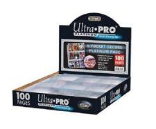 (100) Ultra Pro 9-Pocket Secure Flap Platinum Trading Card Album Binder Pages