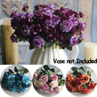 1 Bouquet 15 Heads Artificial Rose Silk Fake Flowers Wedding Party Home Decors