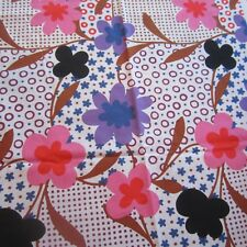 50CM X 89CM Vintage cotton fabric  1960S Pink Purple Dotty Daisy Floral Sewing