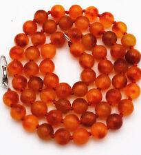 "new 6mm Brazil Orange red jade Round Beads Gemstone Necklace 18 """