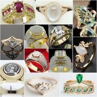 Fashion Women Men's Jewelry 14K Yellow Gold Gemstone Ring Wedding Bridal Jewelry