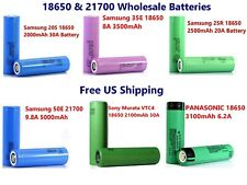 Genuine 18650 2000~3500mAh 10A~30A Rechargeable 3.7V Flat Top Battery Wholesale