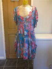 JOE BROWNS Blue Pink Grey Floral Summer Dress  -  size 26 UK  NEW !