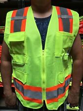 Surveyor Lime Safety Vest Ansi Isea 107 2015 Photo Id Pocket Small To 4 Xl