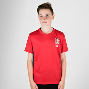 England Rugby RFU Kids Poly T-Shirt Red Top Sports Training Activewear