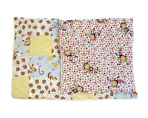 Handmade Baby Quilt Blanket Reversible Unique Multicolor Polka Dots & Monkeys