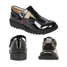Kickers Girls Junior Black Patent Leather T Core Children Mary Jane School Shoes