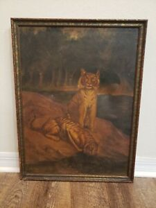 Antique 19th Century Framed Oil On Canvas Painting Tigers