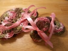 Handmade Crochet baby booties & hat Pink Camo, 3 sizes - by Rocky Mountain Marty